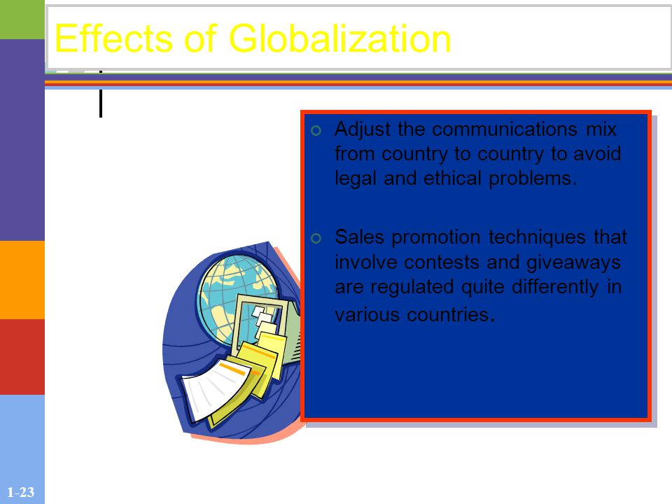 1-23 Effects of Globalization Adjust the communications mix from country to country to avoid legal and ethical problems.