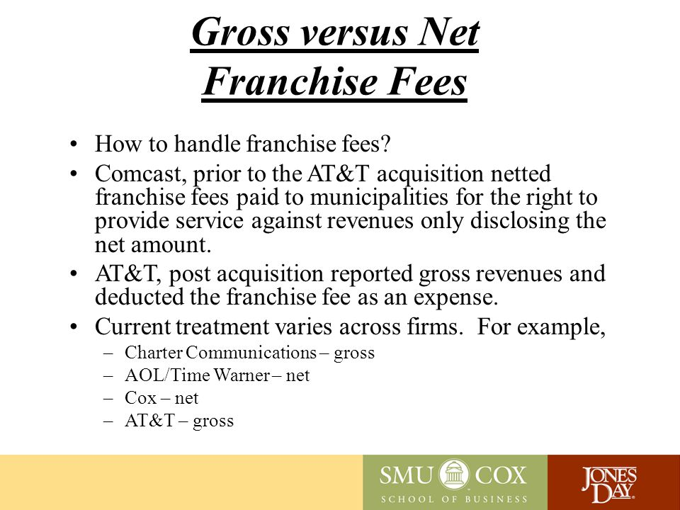 Gross versus Net Franchise Fees How to handle franchise fees.