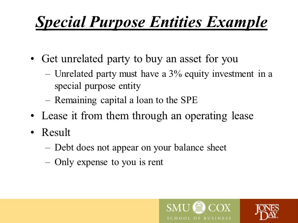 Special Purpose Entities Example Get unrelated party to buy an asset for you –Unrelated party must have a 3% equity investment in a special purpose entity –Remaining capital a loan to the SPE Lease it from them through an operating lease Result –Debt does not appear on your balance sheet –Only expense to you is rent