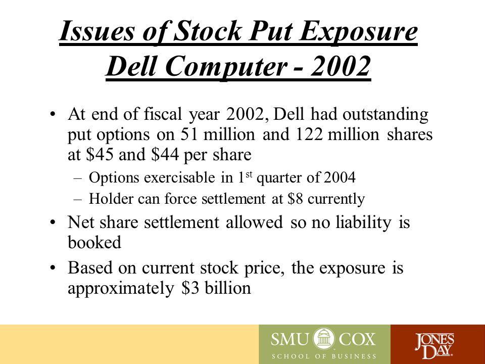 Issues of Stock Put Exposure Dell Computer - 2002 At end of fiscal year 2002, Dell had outstanding put options on 51 million and 122 million shares at $45 and $44 per share –Options exercisable in 1 st quarter of 2004 –Holder can force settlement at $8 currently Net share settlement allowed so no liability is booked Based on current stock price, the exposure is approximately $3 billion