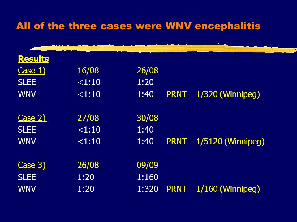 Results Case 1)16/0826/08 SLEE<1:101:20 WNV<1:101:40PRNT1/320 (Winnipeg) Case 2)27/0830/08 SLEE<1:101:40 WNV<1:101:40 PRNT1/5120 (Winnipeg) Case 3)26/0809/09 SLEE1:201:160 WNV1:201:320PRNT 1/160 (Winnipeg) All of the three cases were WNV encephalitis