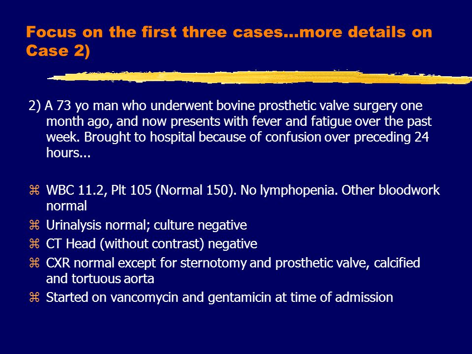 zBlood cultures negative at 48 hours zConfusion considerably better after 24 hours of antibiotic therapy zNo further fevers 24 - 48 hours after admission zTransthoracic echocardiogram did not reveal vegetations; no aortic regurgitation.