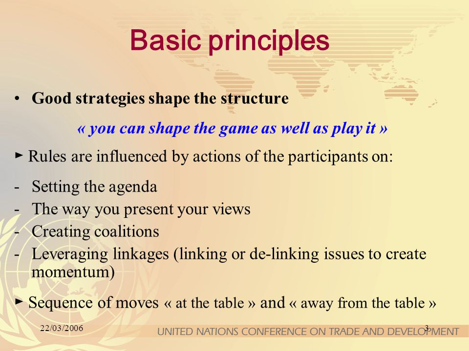 22/03/20063 Basic principles Good strategies shape the structure « you can shape the game as well as play it » ► Rules are influenced by actions of the participants on: -Setting the agenda -The way you present your views -Creating coalitions -Leveraging linkages (linking or de-linking issues to create momentum) ► Sequence of moves « at the table » and « away from the table »