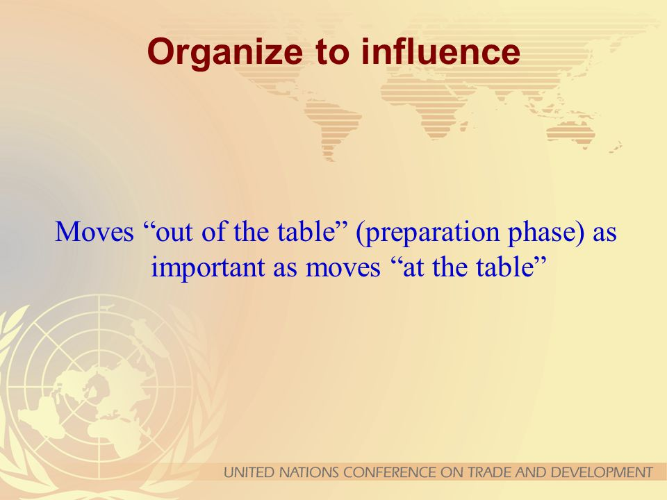 Organize to influence Moves out of the table (preparation phase) as important as moves at the table
