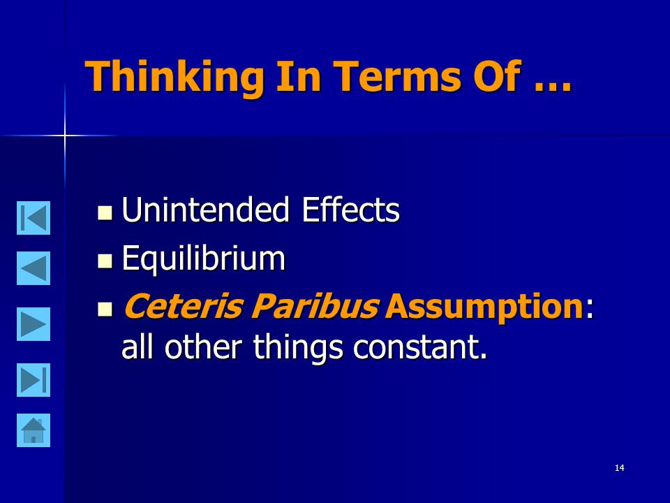 14 Thinking In Terms Of … Unintended Effects Unintended Effects Equilibrium Equilibrium Ceteris Paribus Assumption: all other things constant. Ceteris