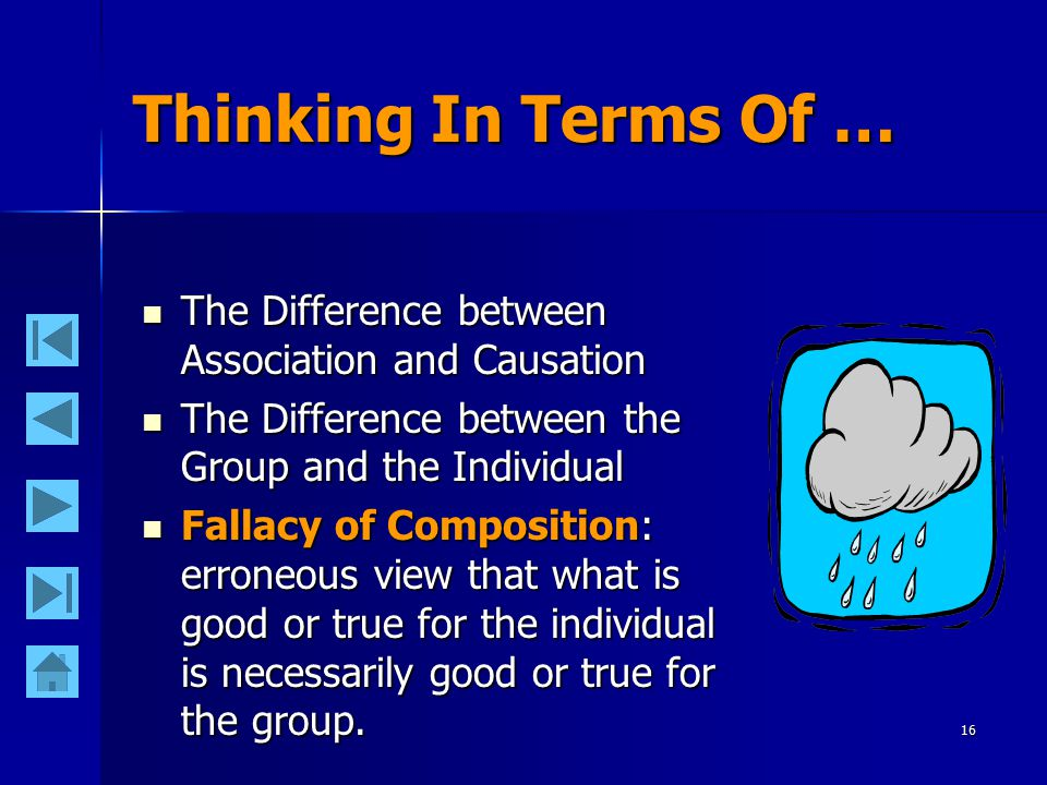 16 Thinking In Terms Of … The Difference between Association and Causation The Difference between Association and Causation The Difference between the Group and the Individual The Difference between the Group and the Individual Fallacy of Composition: erroneous view that what is good or true for the individual is necessarily good or true for the group.