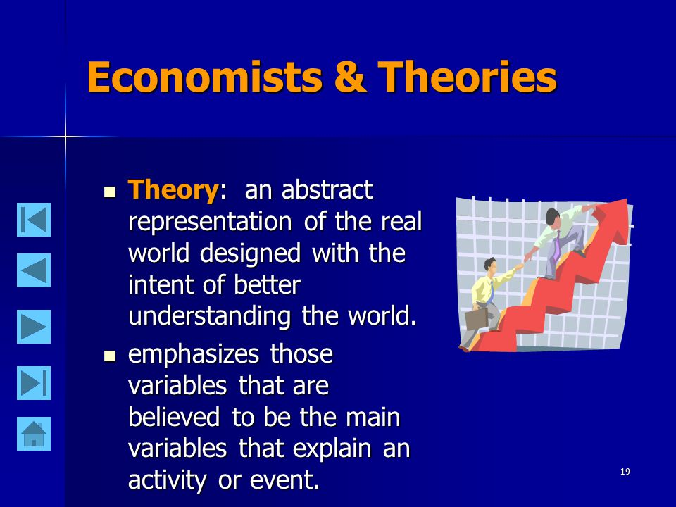 19 Economists & Theories Theory: an abstract representation of the real world designed with the intent of better understanding the world. Theory: an a