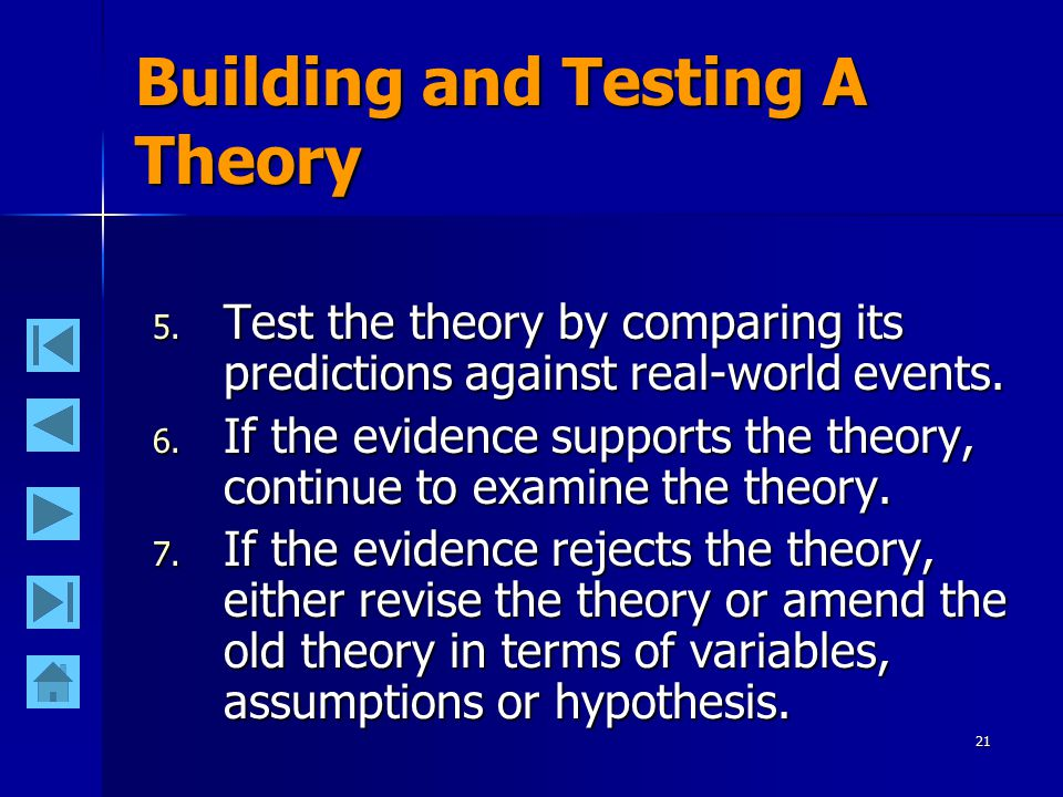 21 Building and Testing A Theory 5.