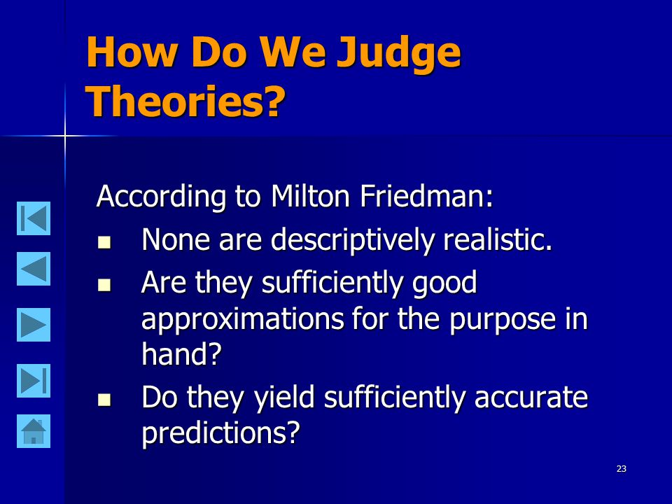 23 How Do We Judge Theories? According to Milton Friedman: None are descriptively realistic. None are descriptively realistic. Are they sufficiently g