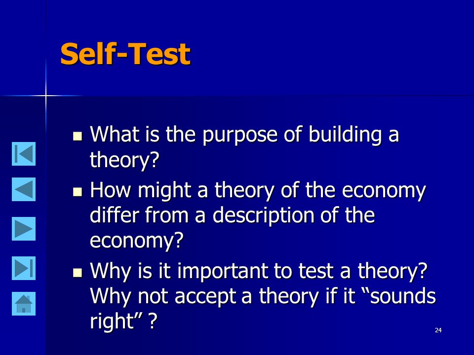 24 Self-Test What is the purpose of building a theory? What is the purpose of building a theory? How might a theory of the economy differ from a descr