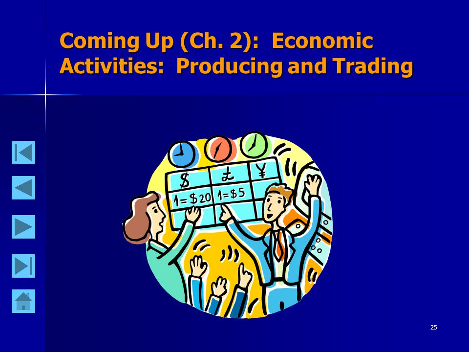 25 Coming Up (Ch. 2): Economic Activities: Producing and Trading