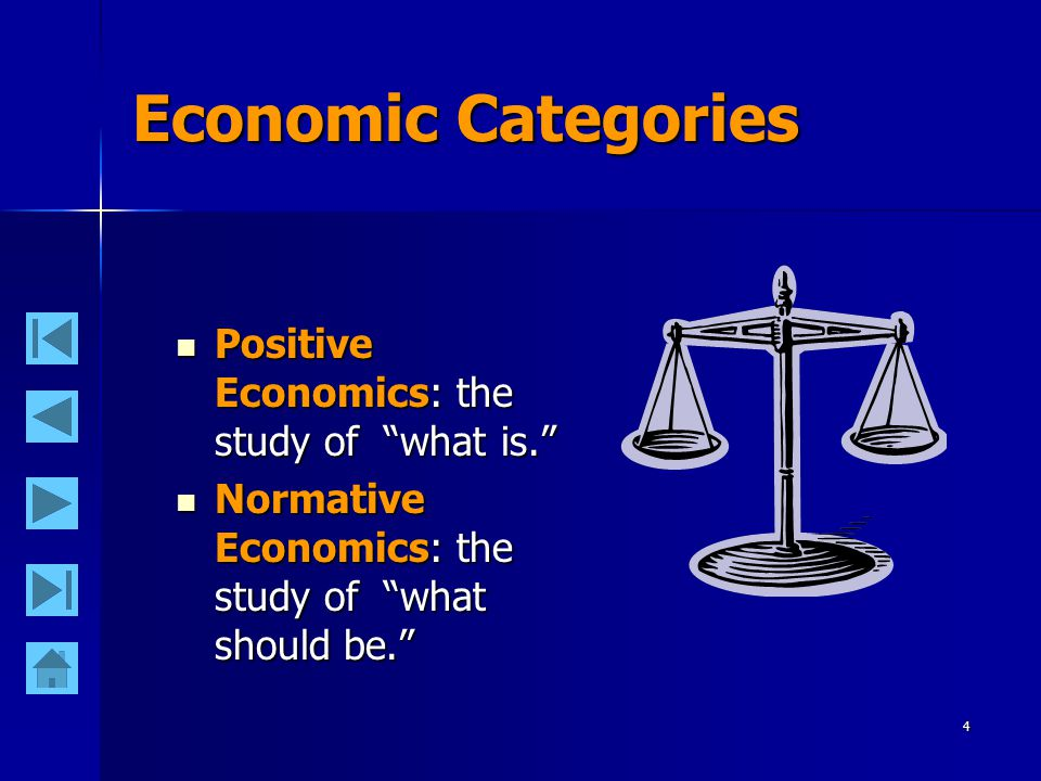 4 Economic Categories Positive Economics: the study of what is. Positive Economics: the study of what is. Normative Economics: the study of what should be. Normative Economics: the study of what should be.