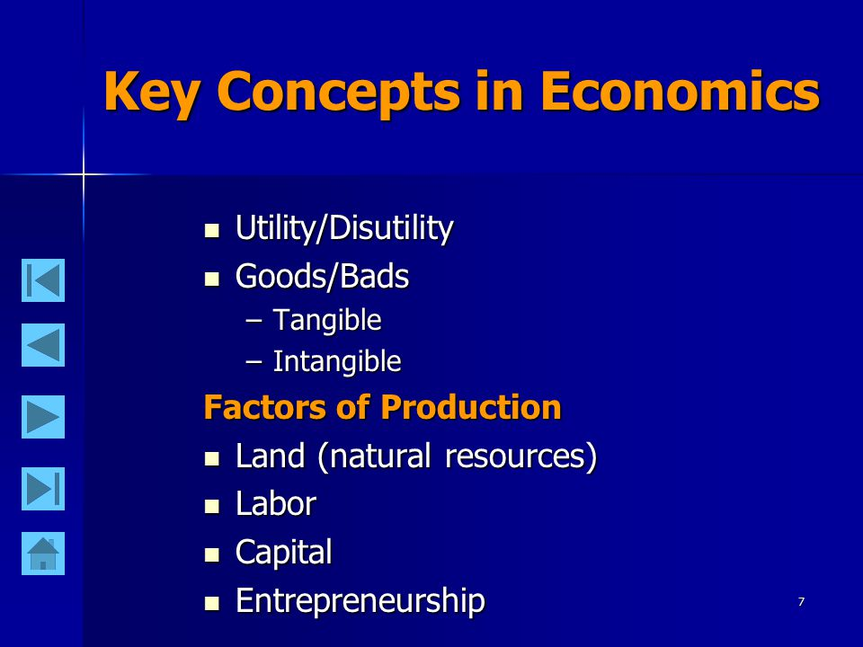 7 Key Concepts in Economics Utility/Disutility Utility/Disutility Goods/Bads Goods/Bads –Tangible –Intangible Factors of Production Land (natural resources) Land (natural resources) Labor Labor Capital Capital Entrepreneurship Entrepreneurship