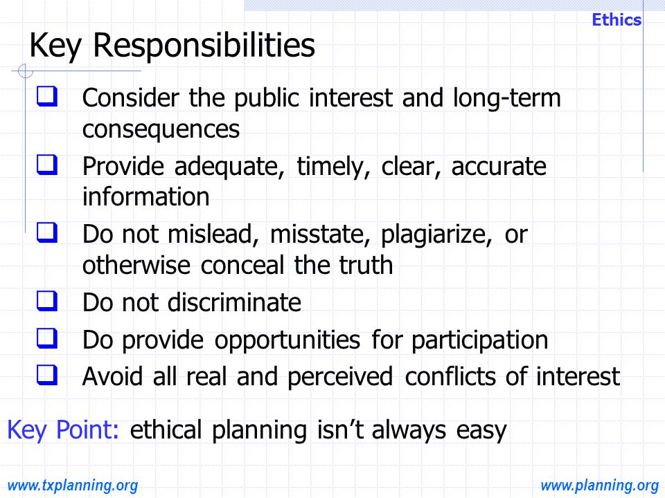 www.planning.orgwww.txplanning.org Professional planners subscribe to the Code of Ethics & Professional Conduct The Code is Divided into 3 Sections  Section A: Aspirational Statement; ideals & principles  Section B: Rules of Conduct  Section C: Procedural elements Ethics Code of Ethics & Professional Conduct Hand out: Code of Ethics & Professional Conduct