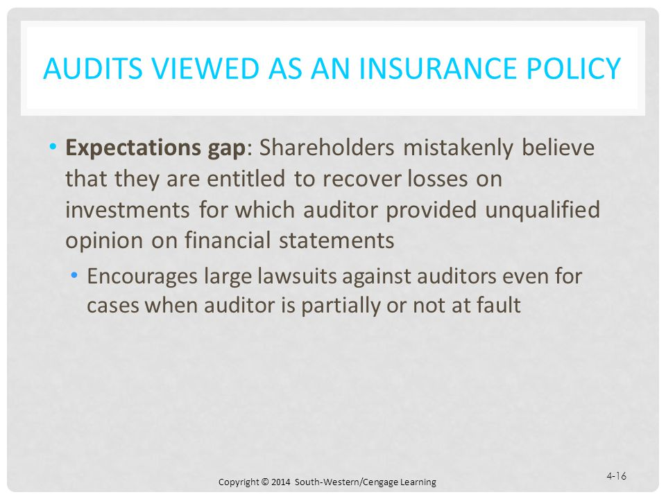 Copyright © 2014 South-Western/Cengage Learning 4-16 AUDITS VIEWED AS AN INSURANCE POLICY Expectations gap: Shareholders mistakenly believe that they are entitled to recover losses on investments for which auditor provided unqualified opinion on financial statements Encourages large lawsuits against auditors even for cases when auditor is partially or not at fault