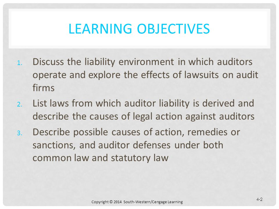 Copyright © 2014 South-Western/Cengage Learning 4-2 LEARNING OBJECTIVES 1.