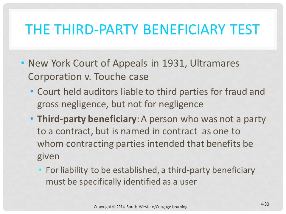 Copyright © 2014 South-Western/Cengage Learning 4-33 THE THIRD-PARTY BENEFICIARY TEST New York Court of Appeals in 1931, Ultramares Corporation v.