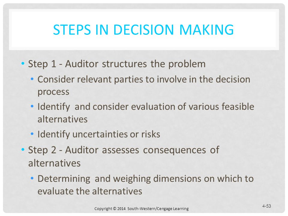 Copyright © 2014 South-Western/Cengage Learning 4-53 STEPS IN DECISION MAKING Step 1 - Auditor structures the problem Consider relevant parties to involve in the decision process Identify and consider evaluation of various feasible alternatives Identify uncertainties or risks Step 2 - Auditor assesses consequences of alternatives Determining and weighing dimensions on which to evaluate the alternatives