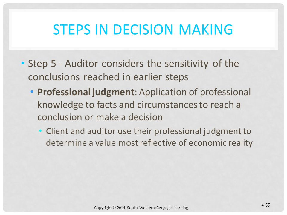 Copyright © 2014 South-Western/Cengage Learning 4-55 STEPS IN DECISION MAKING Step 5 - Auditor considers the sensitivity of the conclusions reached in earlier steps Professional judgment: Application of professional knowledge to facts and circumstances to reach a conclusion or make a decision Client and auditor use their professional judgment to determine a value most reflective of economic reality