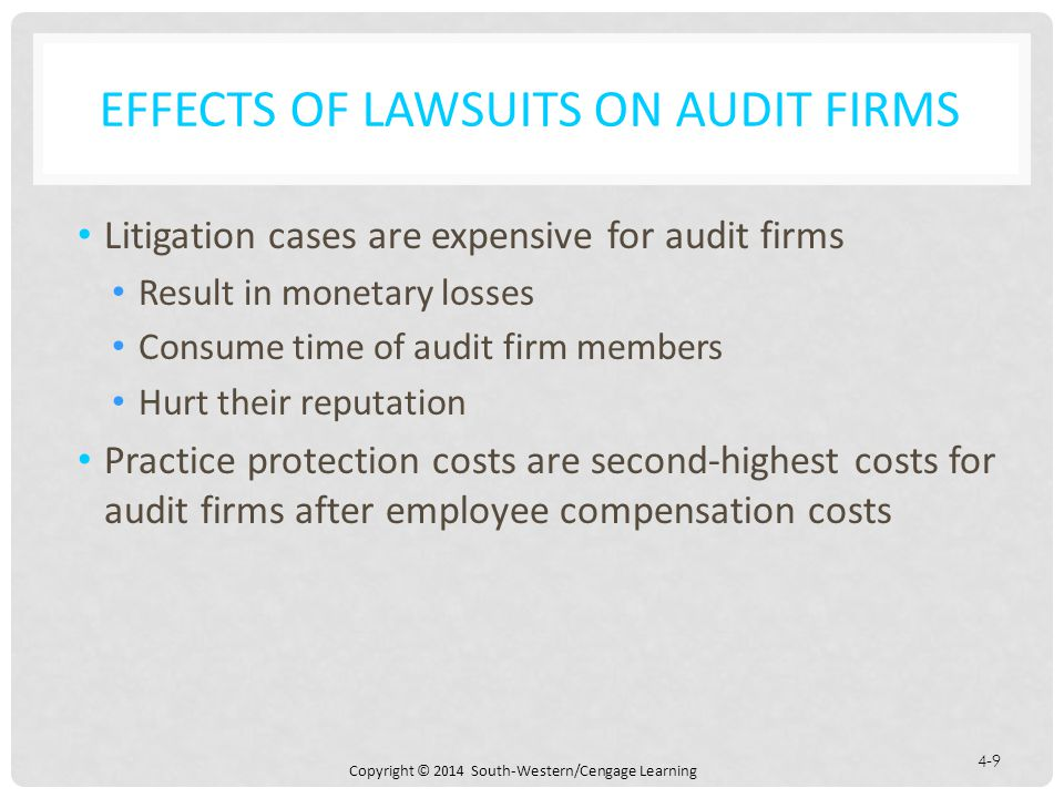 Copyright © 2014 South-Western/Cengage Learning 4-9 EFFECTS OF LAWSUITS ON AUDIT FIRMS Litigation cases are expensive for audit firms Result in monetary losses Consume time of audit firm members Hurt their reputation Practice protection costs are second-highest costs for audit firms after employee compensation costs