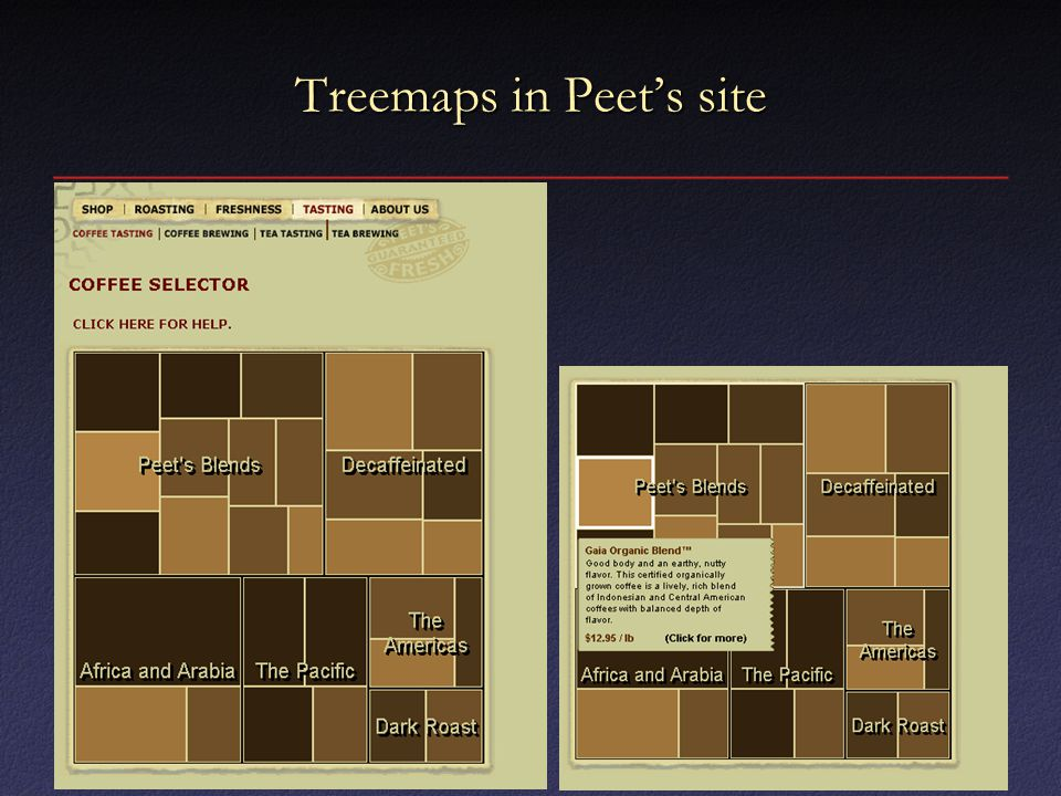 Treemaps in Peet's site