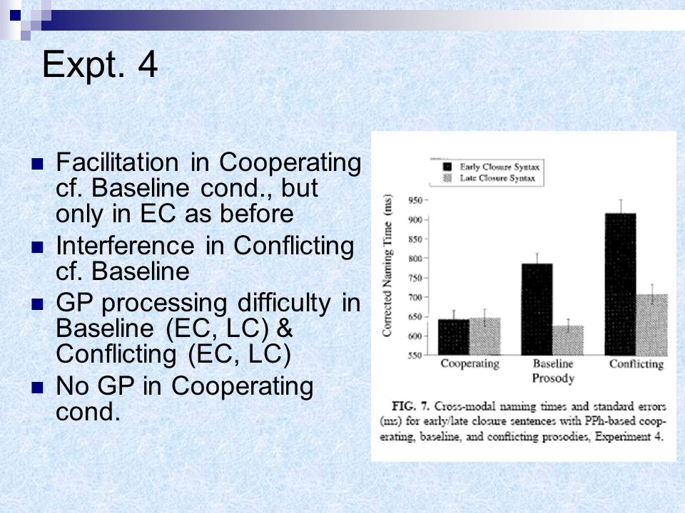 Expt. 4 Most errors in Baseline & Conflicting EC Main effects for prosody, syntax, & interaction effect