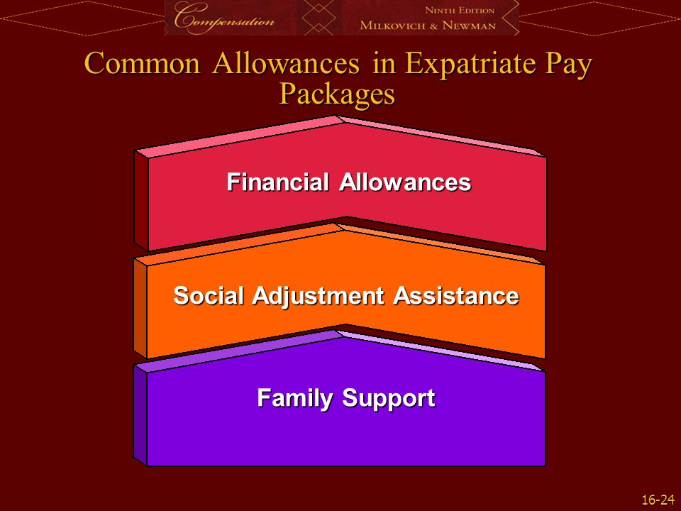 16-24 Common Allowances in Expatriate Pay Packages Financial Allowances Social Adjustment Assistance Family Support