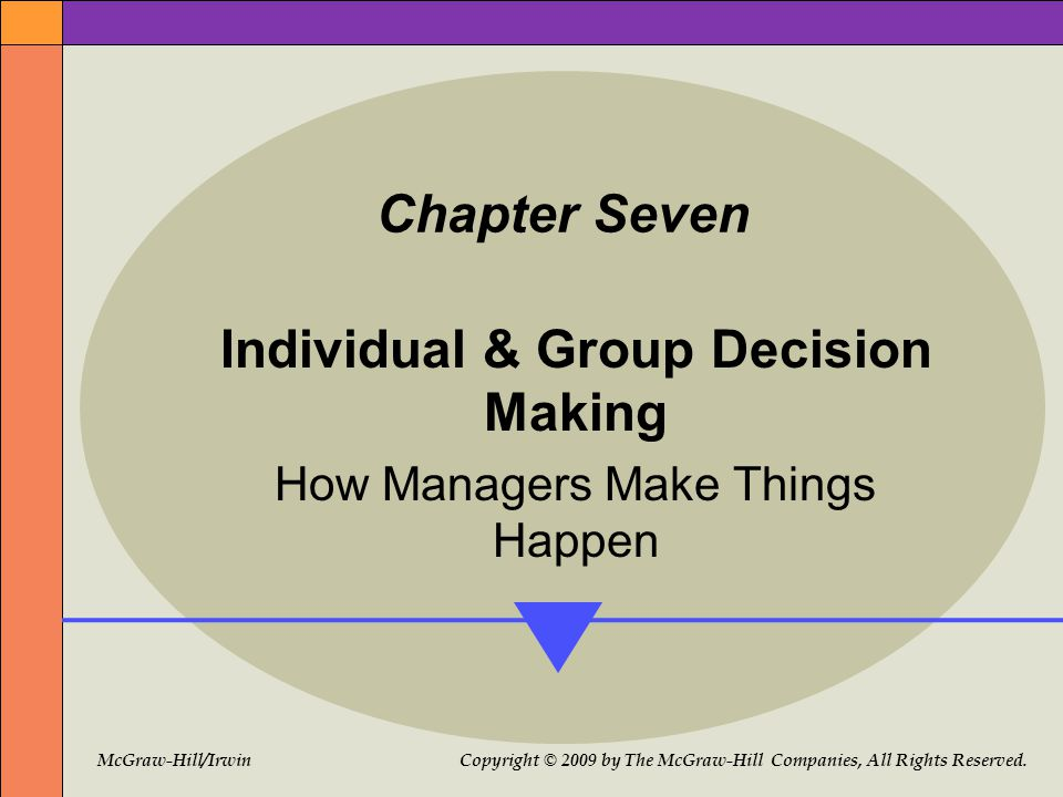 McGraw-Hill/Irwin Copyright © 2009 by The McGraw-Hill Companies, All Rights Reserved. Chapter Seven Individual & Group Decision Making How Managers Ma