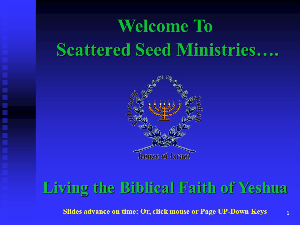 1 Scattered Seed Ministries…. Welcome To Living the Biblical Faith of Yeshua Slides advance on time: Or, click mouse or Page UP-Down Keys