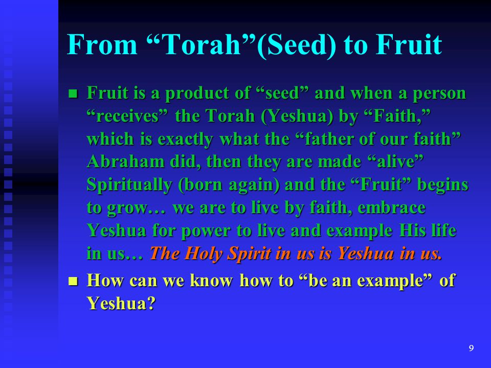10 The Good Seed From the beginning there has only been ONE Good Seed… Yeshua From the beginning there has only been ONE Good Seed… Yeshua The ONLY way to example Yeshua is to partake of Him… the bread come down from Heaven… the Word of Yahweh… Torah.
