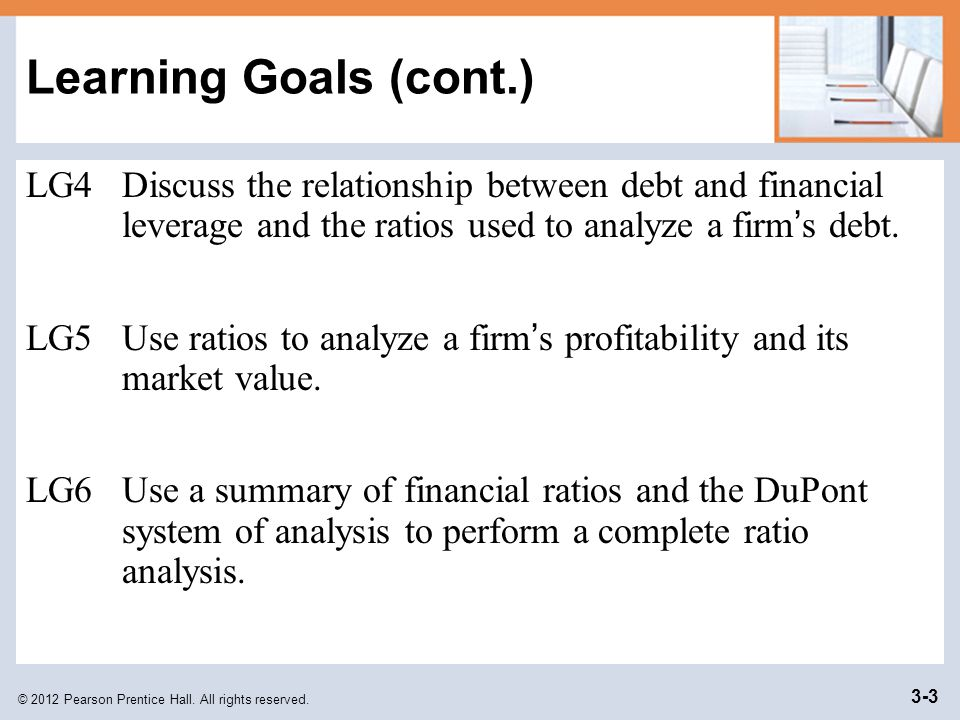© 2012 Pearson Prentice Hall. All rights reserved. 3-3 Learning Goals (cont.) LG4Discuss the relationship between debt and financial leverage and the