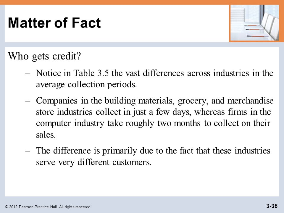 © 2012 Pearson Prentice Hall. All rights reserved. 3-36 Matter of Fact Who gets credit? –Notice in Table 3.5 the vast differences across industries in