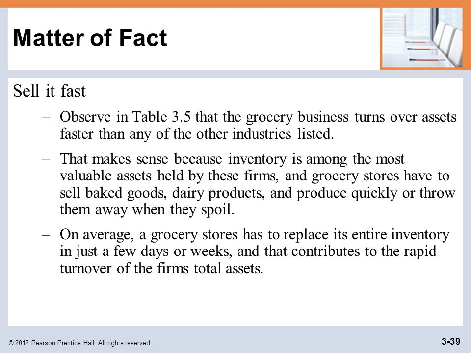 © 2012 Pearson Prentice Hall. All rights reserved. 3-39 Matter of Fact Sell it fast –Observe in Table 3.5 that the grocery business turns over assets