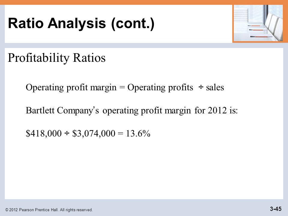 © 2012 Pearson Prentice Hall. All rights reserved. 3-45 Ratio Analysis (cont.) Profitability Ratios Operating profit margin = Operating profits ÷ sale
