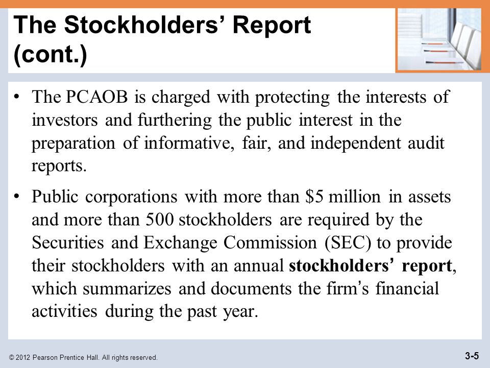 © 2012 Pearson Prentice Hall. All rights reserved. 3-5 The Stockholders' Report (cont.) The PCAOB is charged with protecting the interests of investor