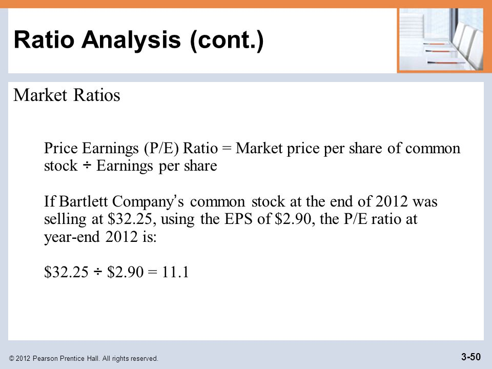 © 2012 Pearson Prentice Hall. All rights reserved. 3-50 Ratio Analysis (cont.) Market Ratios Price Earnings (P/E) Ratio = Market price per share of co