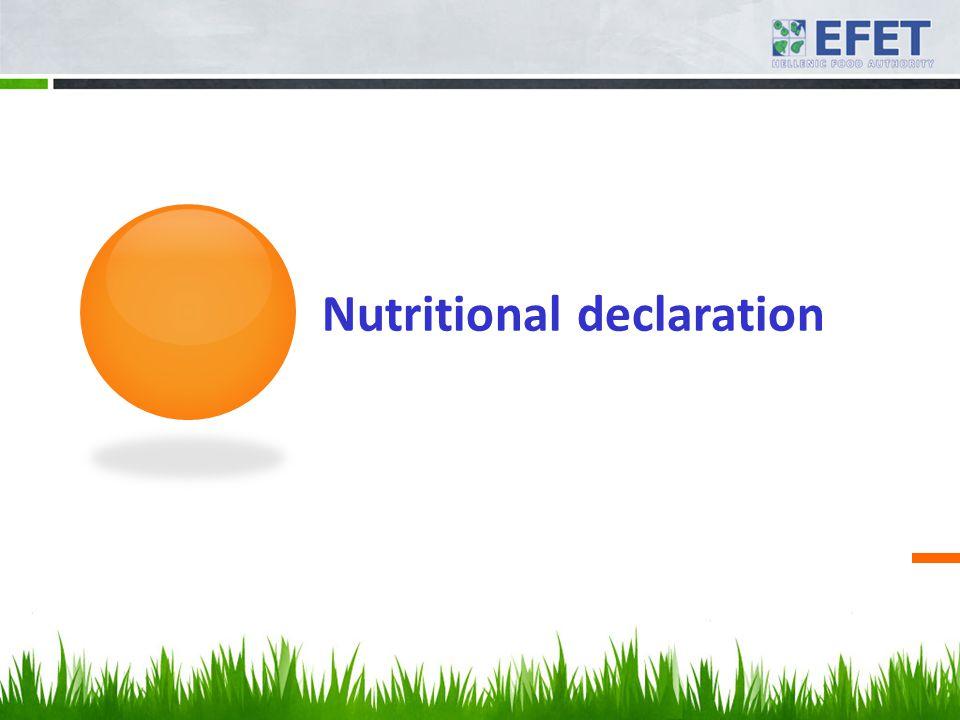 Nutritional declaration