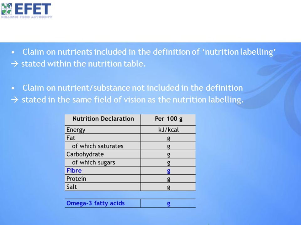 Claim on nutrients included in the definition of 'nutrition labelling'  stated within the nutrition table.
