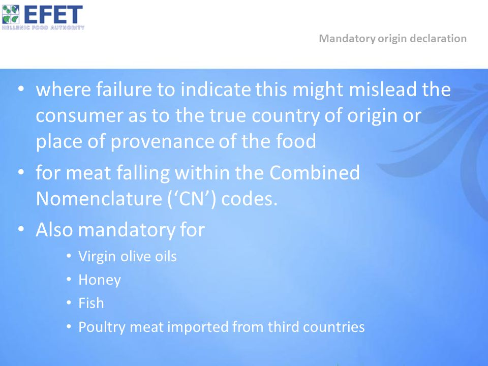 where failure to indicate this might mislead the consumer as to the true country of origin or place of provenance of the food for meat falling within