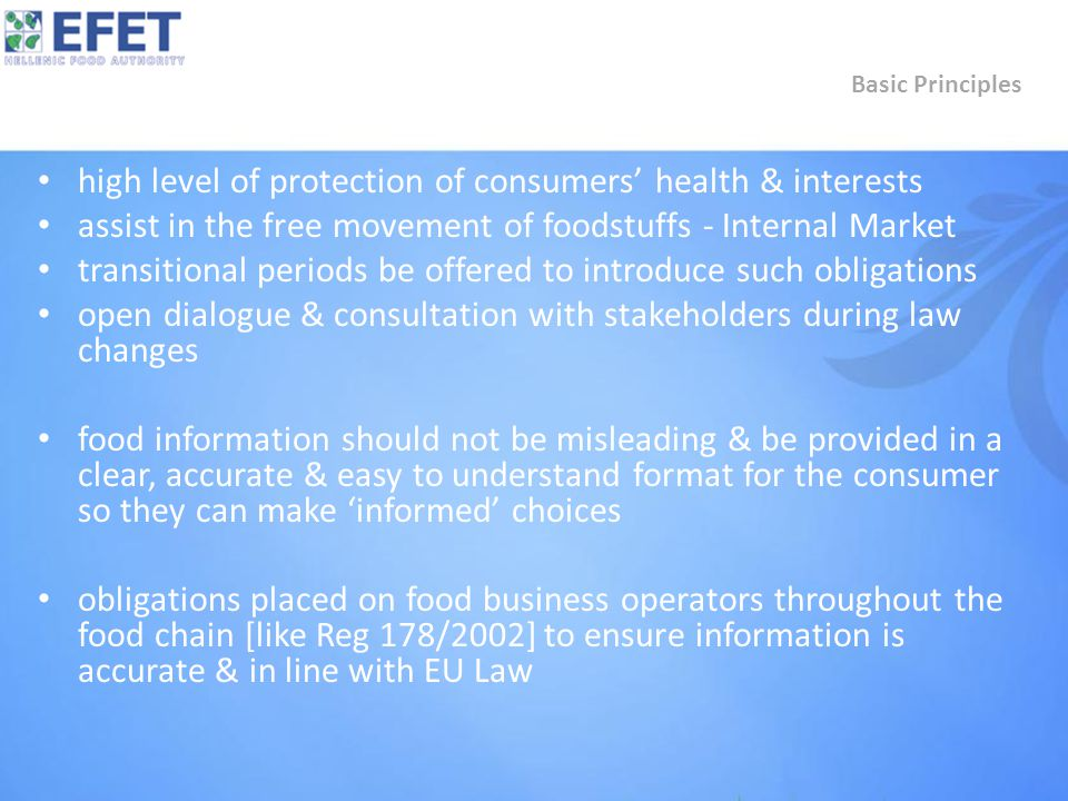 high level of protection of consumers' health & interests assist in the free movement of foodstuffs - Internal Market transitional periods be offered