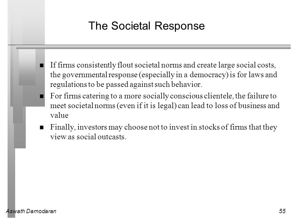 Aswath Damodaran55 The Societal Response If firms consistently flout societal norms and create large social costs, the governmental response (especially in a democracy) is for laws and regulations to be passed against such behavior.