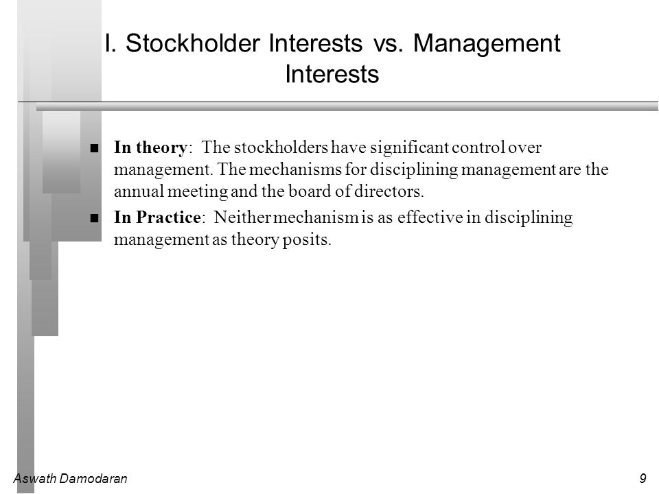 Aswath Damodaran9 I. Stockholder Interests vs. Management Interests In theory: The stockholders have significant control over management. The mechanis
