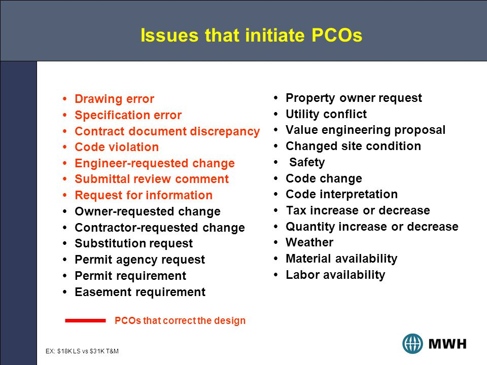 Issues that initiate PCOs  Drawing error  Specification error  Contract document discrepancy  Code violation  Engineer-requested change  Submittal review comment  Request for information  Owner-requested change  Contractor-requested change  Substitution request  Permit agency request  Permit requirement  Easement requirement  Property owner request  Utility conflict  Value engineering proposal  Changed site condition  Safety  Code change  Code interpretation  Tax increase or decrease  Quantity increase or decrease  Weather  Material availability  Labor availability PCOs that correct the design EX: $18K LS vs $31K T&M