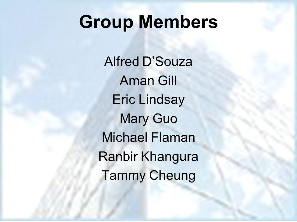 Group Members Alfred D'Souza Aman Gill Eric Lindsay Mary Guo Michael Flaman Ranbir Khangura Tammy Cheung