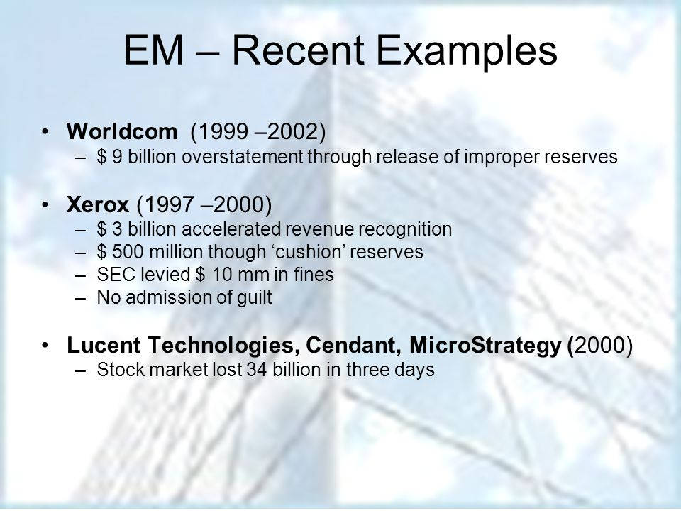 Capital Market Motivations Sample motives: Short term stock price performance Valuation prior to management buyouts E.M.