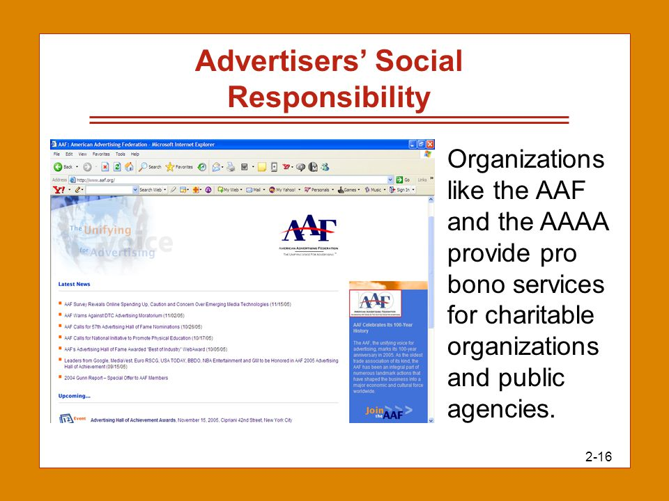 2-16 Advertisers' Social Responsibility Organizations like the AAF and the AAAA provide pro bono services for charitable organizations and public agen