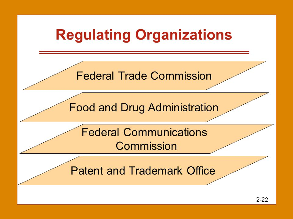 2-22 Regulating Organizations Federal Trade Commission Food and Drug Administration Federal Communications Commission Patent and Trademark Office