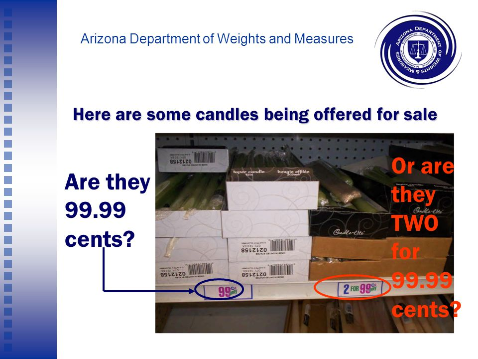 Arizona Department of Weights and Measures Finding the right price CANNOT BE a multiple-choice test.