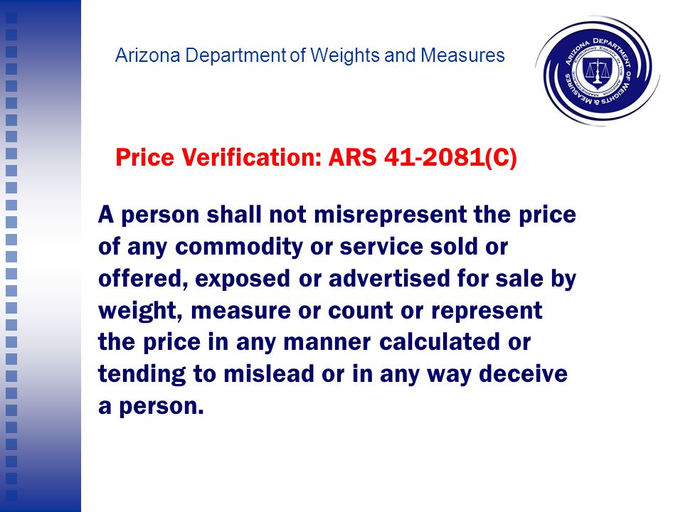 Arizona Department of Weights and Measures Price Verification