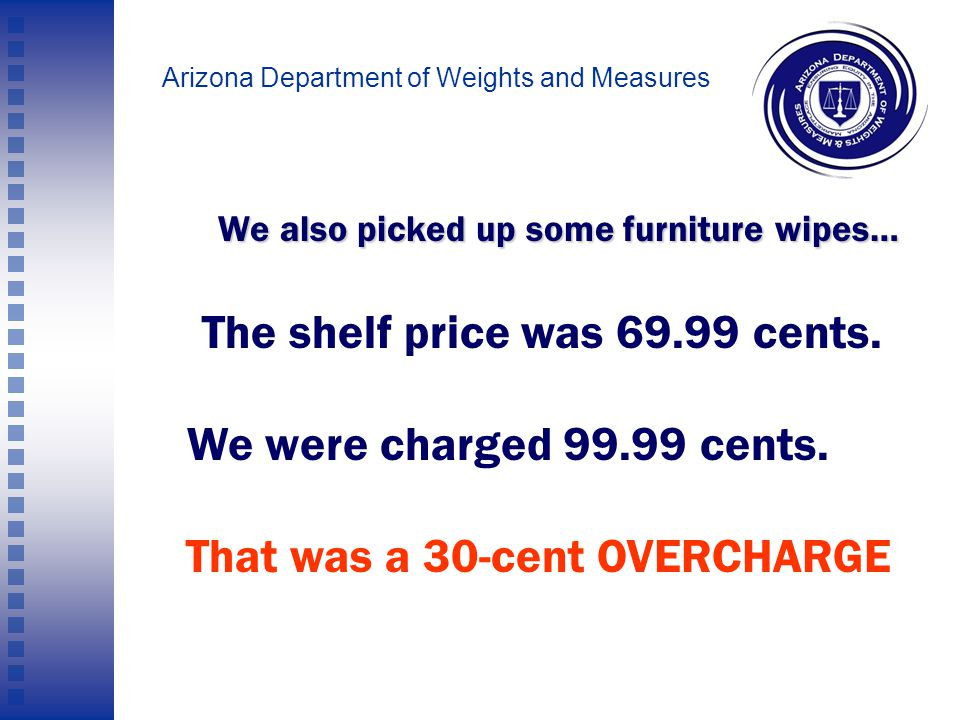 Arizona Department of Weights and Measures We picked up a mirror that was priced at 59 cents.